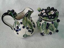 Blue Sky Clayworks J. McCall 3D Blueberry Creamer & Sugar Bowl Set w/Spoon~Exc