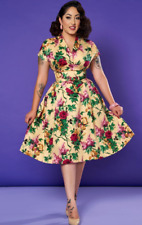 Pinup Couture/Pinup Girl Clothing Nadia Dress in Cream/ Piink Floral Size Medium