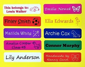 Waterproof personalised stick on name labels stickers, lunchbox, bottle, school