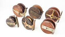 """6 x EARLY WOODEN STARBACK/ STRAPBACK CENTREPIN REELS  2 """" - 3"""""""