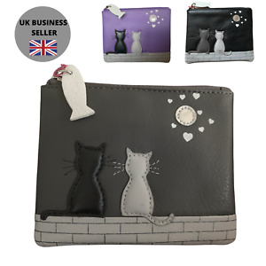 Black & Grey Cat RFID Coin & Card Purse by Mala Leather MIDNIGHT CATS 4231 35