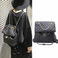 2 Way Quilted Faux Leather Chain Backpack Drawstring Bucket Shoulder Bag Purse
