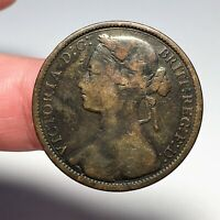 1874 Great Britain Penny, Large Date, Thin Ribbon, Obverse of '75, Victoria, F