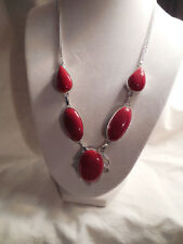 Sterling silver filigree w/red  stone necklace Lovely!