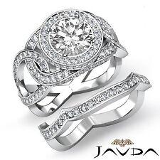 Round Diamond Designer Engagement Bridal Set Ring GIA F SI1 14k White Gold 3.2ct