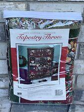 CHRISTMAS TEDDY BEAR TAPESTRY AFGHAN THROW BLANKET 46X60