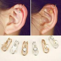 1pc Womens Ear Cuff Earrings Wrap Fashion Clip On Cuffs Fake Silver B8Z5