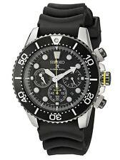 Seiko Men's SSC021 Prospex Solar Diver Chronograph Black Dial Black Rubber Band