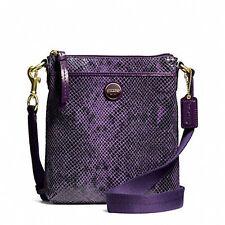 Coach Bag F50116 Signature Stripe Python Exotic Leather Swingpack Purple COD