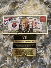 New ListingPresident Donald Trump 2016 Dollar Note Signed Autographed With Coa