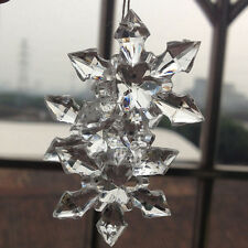 10PCS Clear Crystal Snowflake Xmas Ornament Gift Wedding Hanging Party Decor