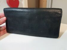 Fossil Black Leather Bifold Zip Wallet Clutch