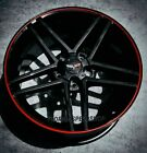 Gloss Black Z06 W Red Lip Corvette Wheels For 1997-2013 C5c6 1819 Set