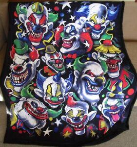 New Creepy Scary Evil Killer Clowns Fleece Sherpa Gift Throw Blanket Halloween