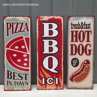 Retro Vintage Style Metal Plaques Pizza,Hot,Dog,BBQ Kitchen Cafe Tin Wall Sign.