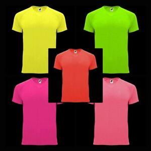 NEON Herren T-Shirt Sport Kurzarm Neon Unifarben Basic Rundhals Casual S-3XL