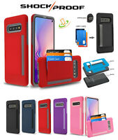 For samsung Galaxy S10 Wallet Case 3 Cards Holder Rubber Protective Hybrid Cover
