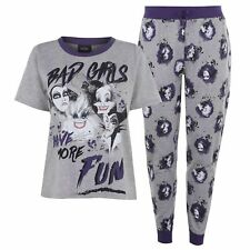 """Official DISNEY """"BAD GIRLS"""" 2 Piece Wicked Witches Maleficent Ursula Pjs Set NEW"""