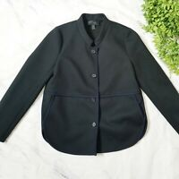 J. Crew Petite Black & Navy Tipped Twill Single Breasted Blazer Jacket S 4 4P