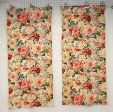 Vtg 30s CABBAGE ROSES BARKCLOTH Era FLORAL Cotton Twill 2 PANELS