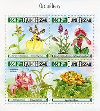 Guinea-Bissau 2015 MNH Orchids 4v M/S Flowers Flora Orquídeas