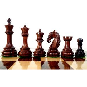 "3.9"" Unique Old Columbian Weighted Chess Pieces set - Rosewood & Boxwood"