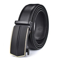 Luxury Men's Automatic Buckle Belt Genuine Leather Ratchet Strap Waistband Jeans