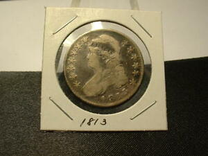 1813 U.S. CAPPED BUST HALF DOLLAR! SCARCE COIN! PROBLEM FREE!