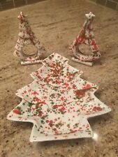 Vintage Christmas Tree Napkin Holders and Christmas Tree Candy Dish Red Green