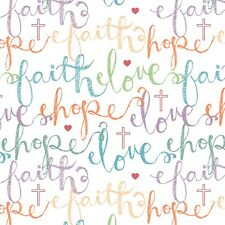 Faith Hope Love FQ Christian religious peace words cotton fabric Fat Quarter