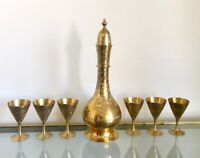 Vintage Floral Etched Brass Decanter With 6 Cups Liquor Cordial Set Bohemian