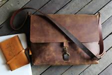 leather messenger bag vintage rugged mens ladies office luggage laptop sling