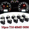 10X White PC168 T10 4SMD Dashboard Dash Instrument Panel Cluster Led Light Bulbs