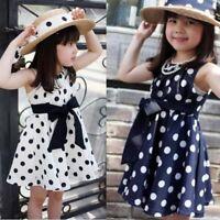 Polka Dots Bowknot Summer Dress Princess Toddler Girls Sleeveless Chiffon Dress
