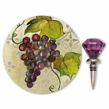 Cypress Home Bottles Up!Gift Set,Wine Coaster,Coordinating Bottle Stopper,Grapes