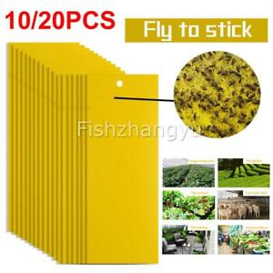 10/20pcs Yellow Sticky Glue paper Insect Trap Catcher Killer Fly Aphids Wasp new
