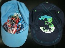 BOYS HATS BUNDLE AGE 3-6 YEARS BASEBALL CAPS PALE BLUE MARVEL HEROES AND NAVY 3