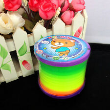 Plastic Round Rainbow Circle Coil Spring Slinky Party Kids Baby Toys Great LC