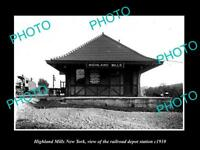 OLD LARGE HISTORIC PHOTO OF HIGHLAND MILLS NEW YORK, THE RAILROAD STATION c1910