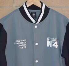 Men's Stussy No.4 Snap Button Varsity Baseball Jacket Grey Black Size Large