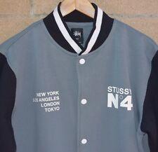 Men's Stussy No.4 Snap Button Varsity Baseball Jacket Grey Black Size Large
