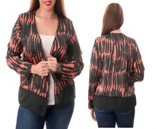 T43 New Coral Black Plus Size 22/24 Ladies Club Party Office Work Blouse Tops