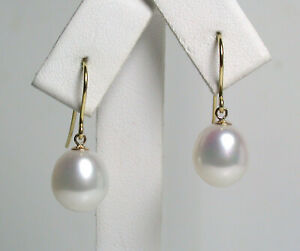 9.5x10.5mm AAA quality white freshwater pearl & 9 carat gold earrings