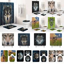 Toilet Cover Mat Lid Rug Shower Curtain Nordic Animals Wolf Bathroom Floor Mats