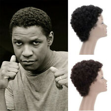 Handmade Afro Curly Toupee for Men Human Hair Black African American Wigs