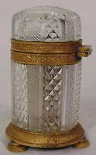 Empire Period French Cut Glass Crystal Gilt Bronze Inkwell Dresser Box