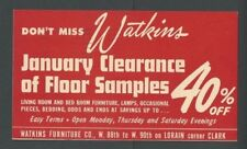 1947 Cleveland Oh Watkins Furniture Co 40% Clearance Sale