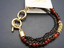 $16 *W Stones & Beads* Orange Jade Beaded Bracelet w/Austrian Crystal Rondelle