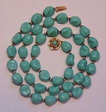 Vintage Signed Miriam Haskell Gold Tone Turquoise Glass Beaded Necklace