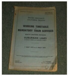 1973/1974 Working Railway Timetable Southern Region Section C South Eastern